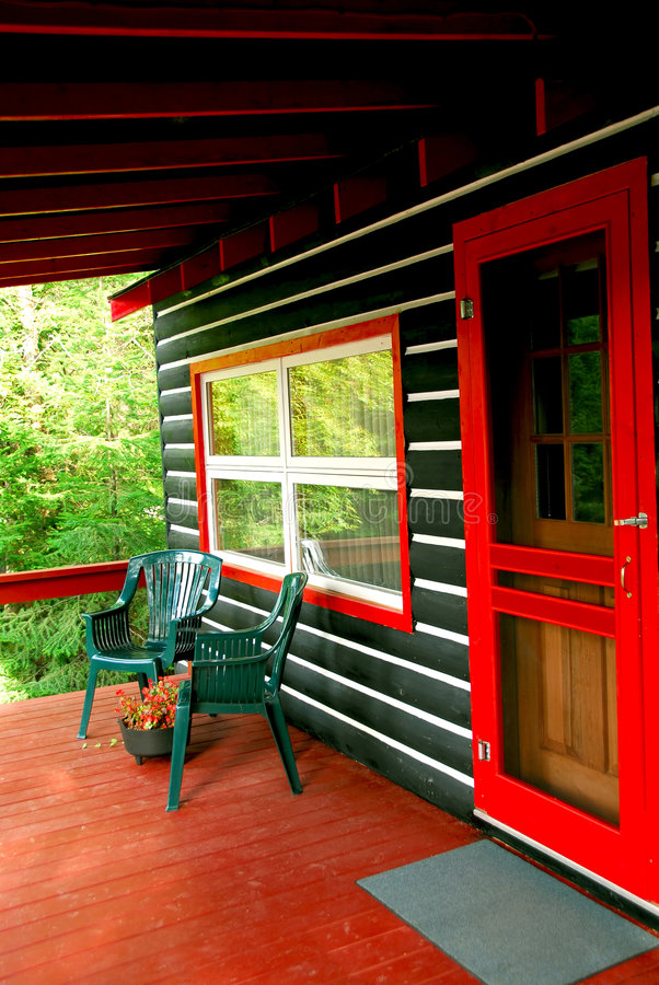 Download Log cabin deck stock photo. Image of inviting, freedom - 1295948