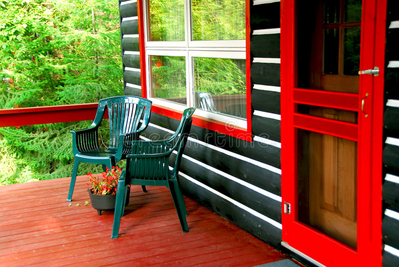 Download Log Cabin Deck Royalty Free Stock Image - Image: 1327906