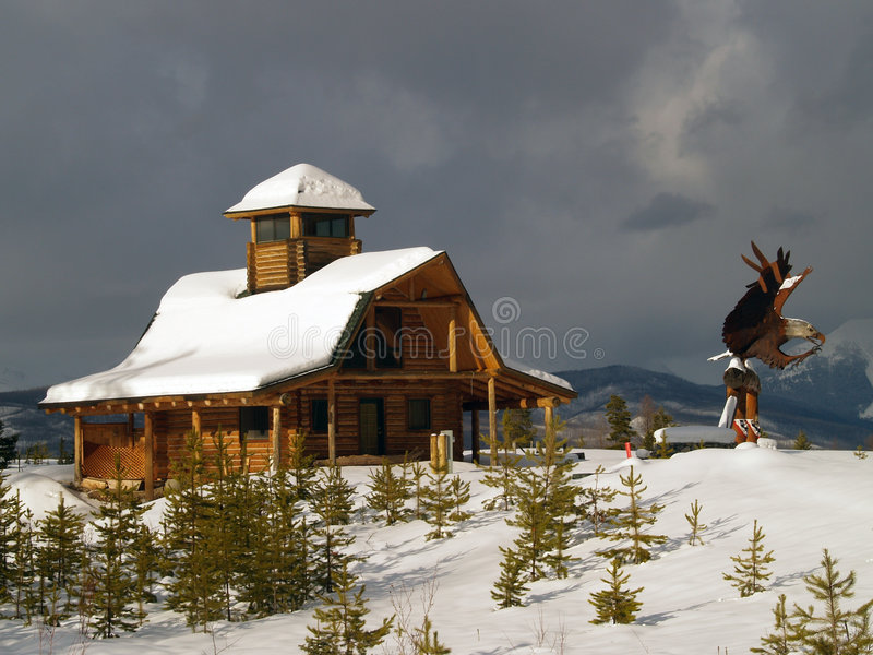 Download Log Cabin And Eagle Sculpture Stock Photo - Image: 4561682