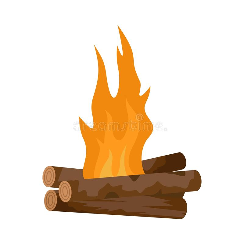 Log cabin fire icon, flat style. Log cabin fire icon. Flat illustration of log cabin fire vector icon for web isolated on white royalty free illustration