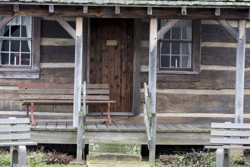 Log cabin front porch stock photos
