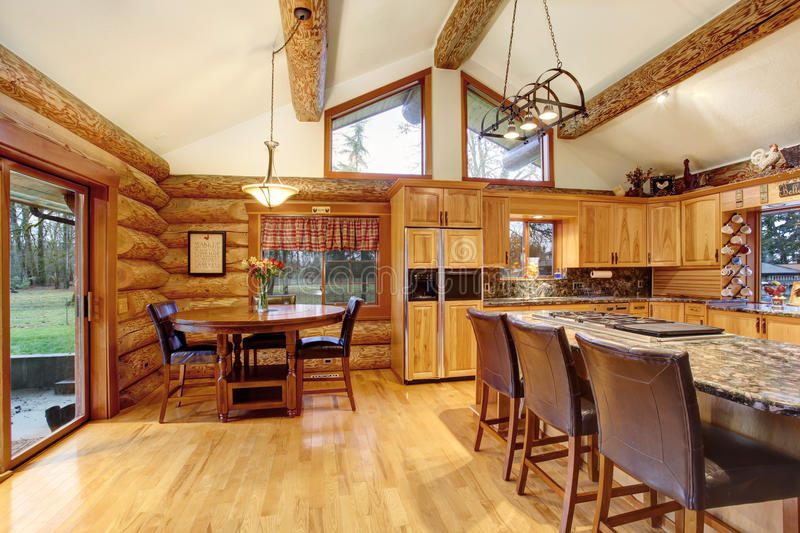 Download Log Cabin House Interior Of Dining And Kitchen Room Stock Photo