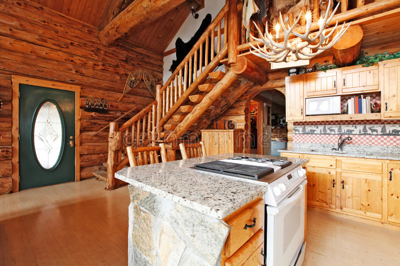 Log Cabin House Interior View Of Entrance Hall Form Kitchen Roo