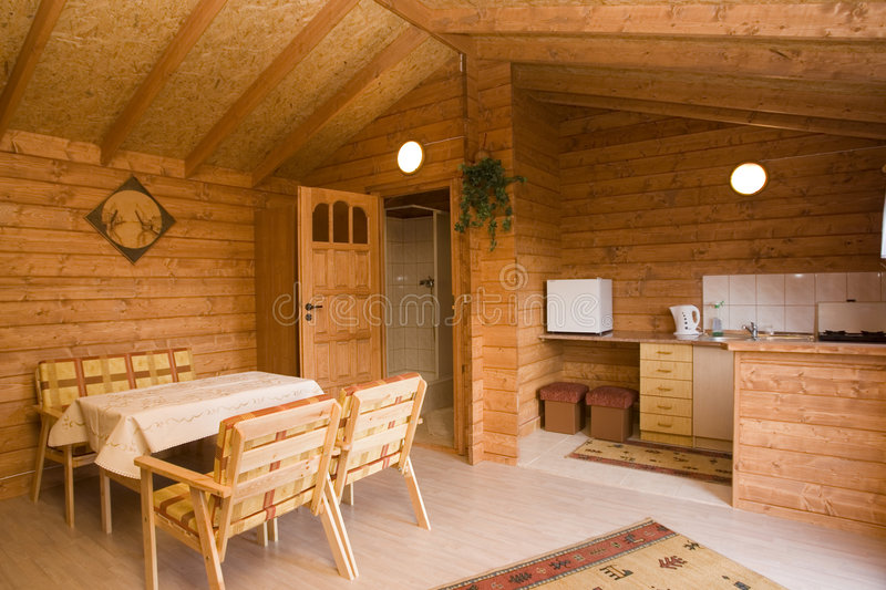 Log cabin interior stock photography