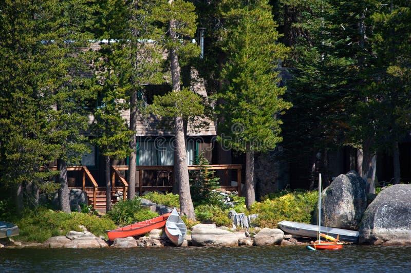 Log cabin by lake