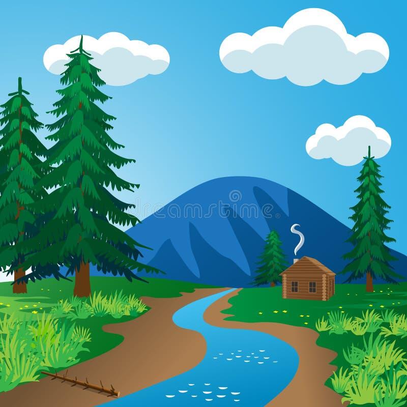 A log cabin near the river vector illustration