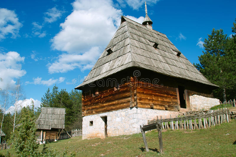 Log cabin. Old log cabin placed on Mount Zlatibor, built in a traditional mountain style. Exceptionally well-preserved and still in use. Log Cabin built on a royalty free stock images
