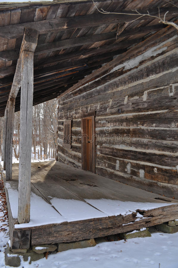 Download Log cabin porch in winter stock image. Image of logs - 17901573
