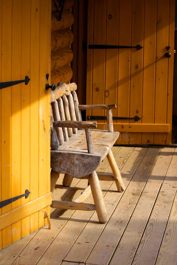 Download Log cabin portico stock image. Image of bench, relax - 11698943