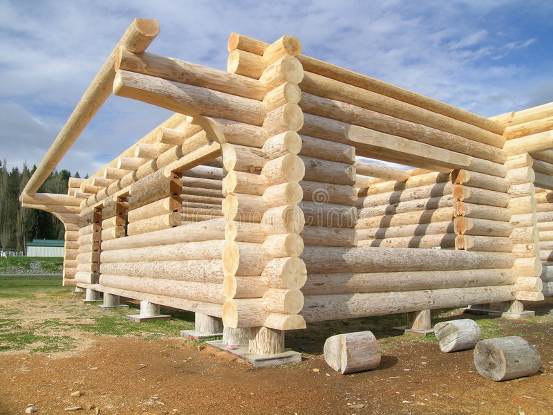 Log cabin under construction stock photo image of home for Log construction