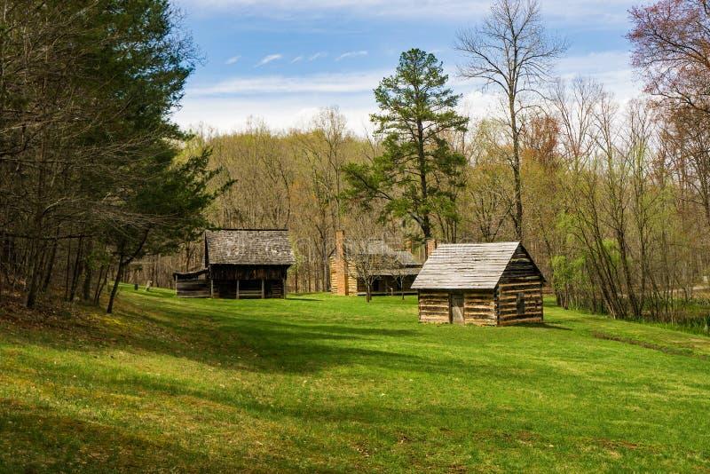 Log Cabin Village – Explore Park, Roanoke, Virginia, USA royalty free stock image