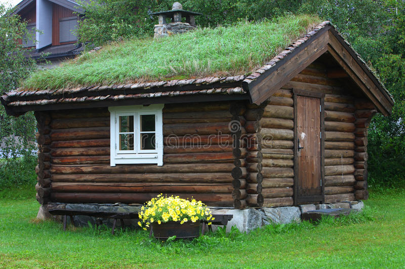 Log cabin. The log cabin in the village in north europe stock photo
