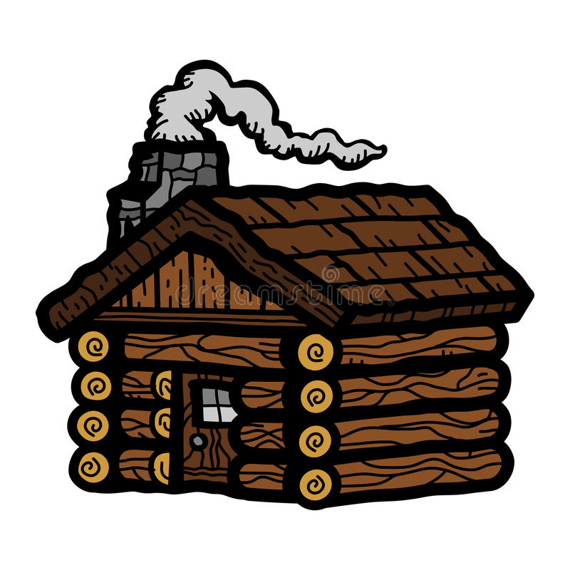 Log Cabin Wooden Cottage. Rural setting vector icon royalty free illustration