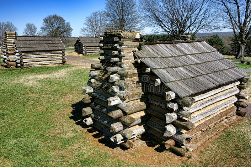 Log Cabins Housing at Valley Forge National Park royalty free stock images