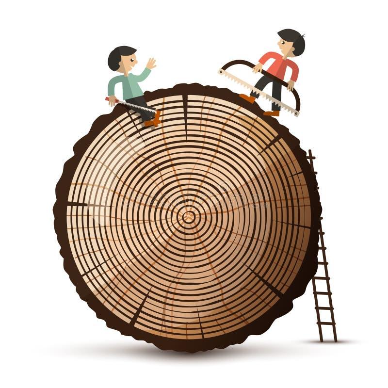 Log com povos Símbolo de madeira isolado ilustração royalty free
