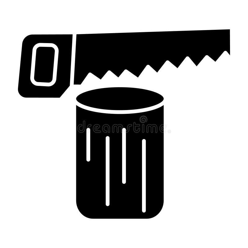 Log da serra - ícone da serra de cadeia, ilustração do vetor, sinal preto no fundo isolado ilustração do vetor