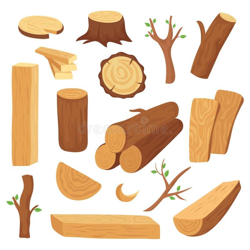 Log e tronco de madeira Madeira serrada de madeira dos desenhos animados, prancha Grupo isolado vetor dos materiais de construção ilustração stock