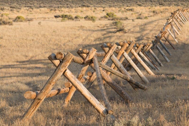 Log fence on the open range royalty free stock image