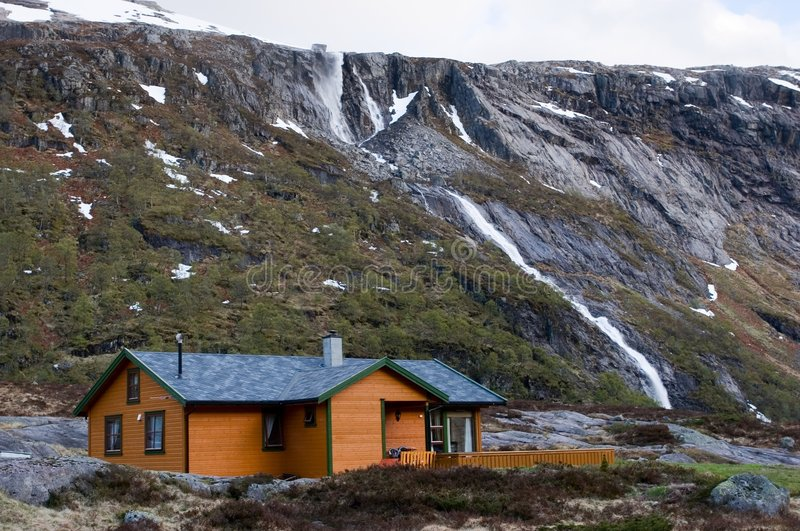 Log house. In mountains in Norway stock photos