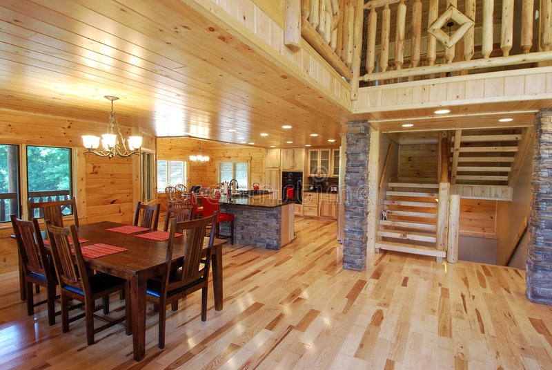 Log House Interior Kitchen View stock image