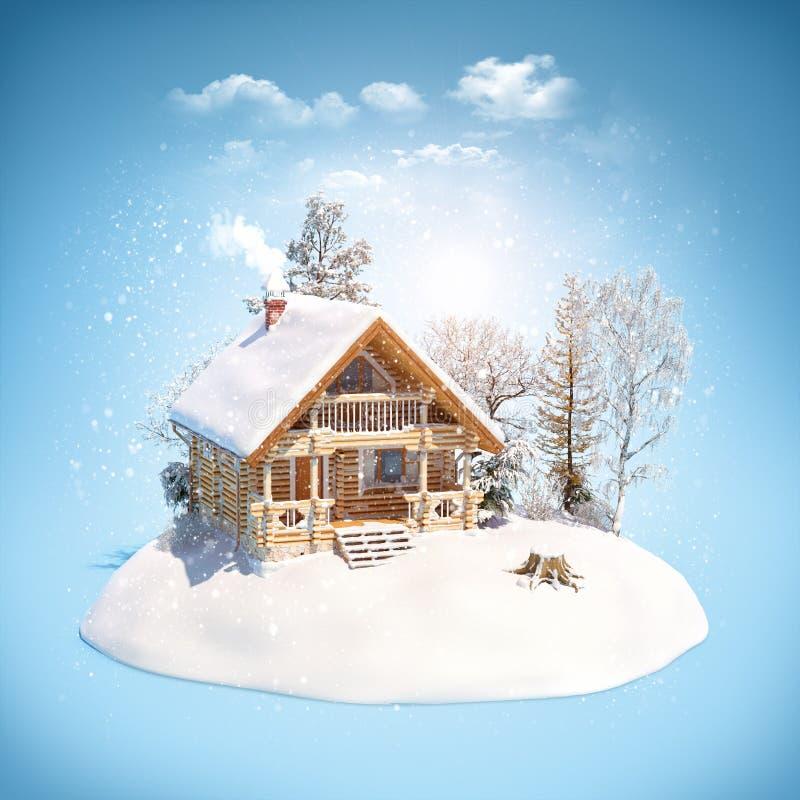 Free Log House On Snowdrift Royalty Free Stock Image - 203464726
