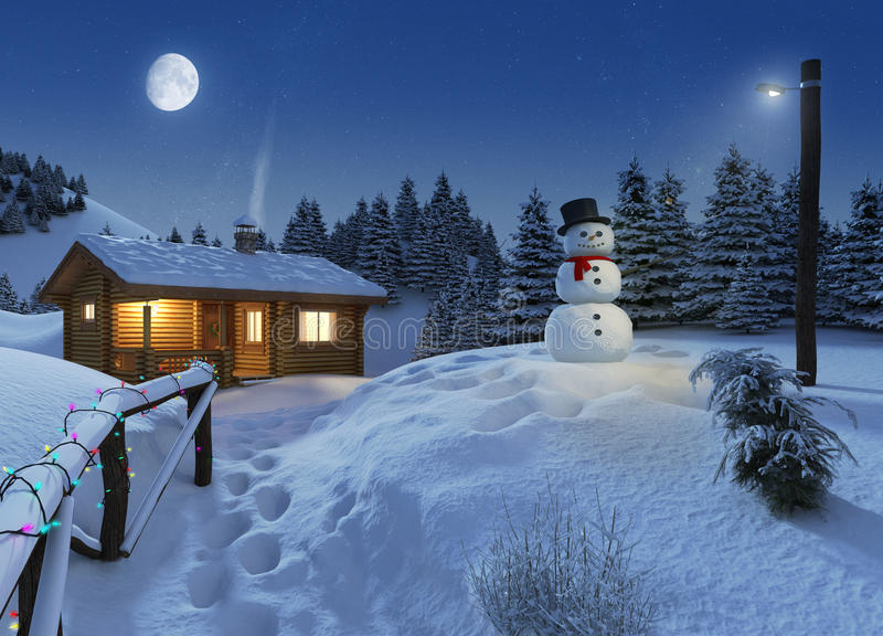 Log house in a winter christmas scene royalty free illustration