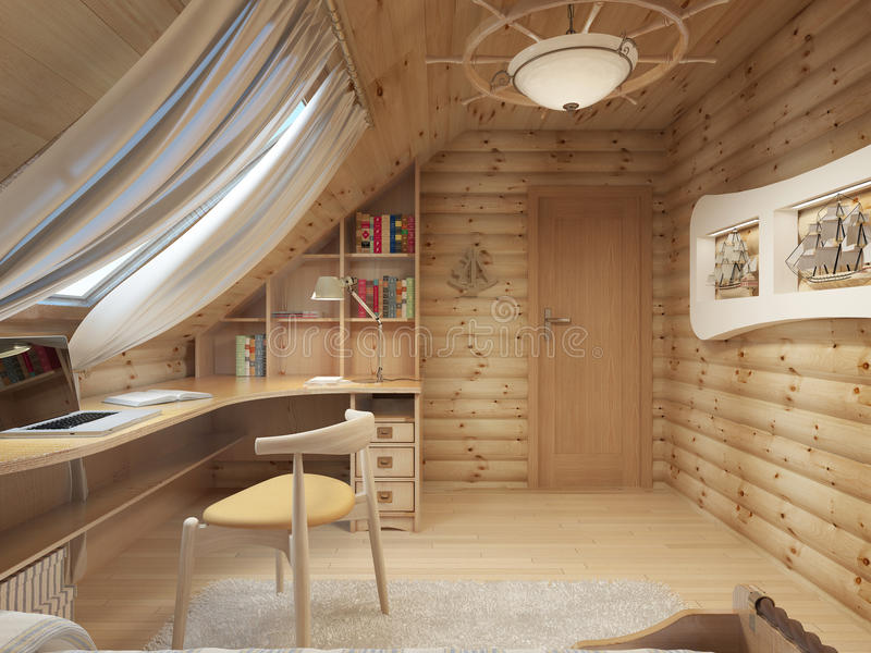 Log interior room for a teenager from the timber in a marine sty. Le and decor. Shelving for books with a work desk and a bed of wood. 3D render stock illustration