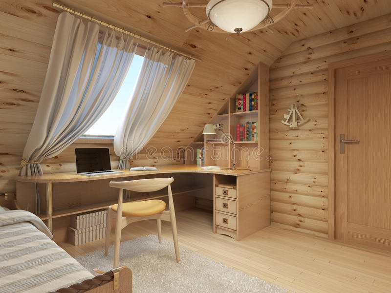 Log interior room for a teenager from the timber in a marine sty. Le and decor. Shelving for books with a work desk and a bed of wood. 3D render royalty free illustration