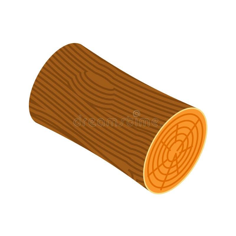 Log isolated. Wooden billet on white background.  royalty free illustration