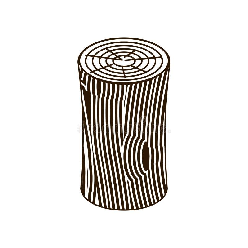 Log isolated. Wooden billet on white background.  vector illustration