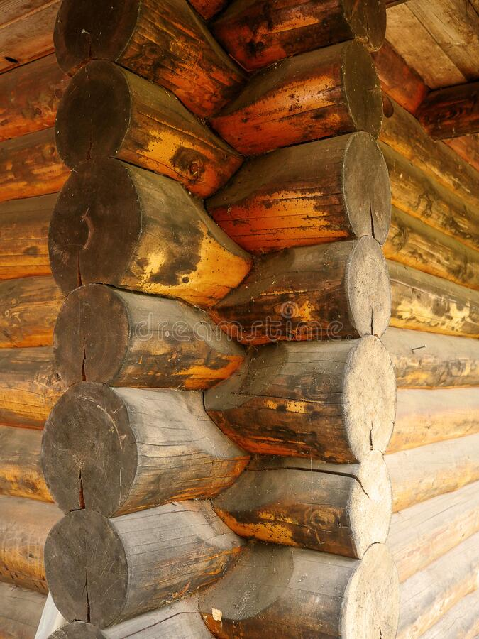 Log joint in old wood house. Old style construction. Nature material, Nordic countries royalty free stock images