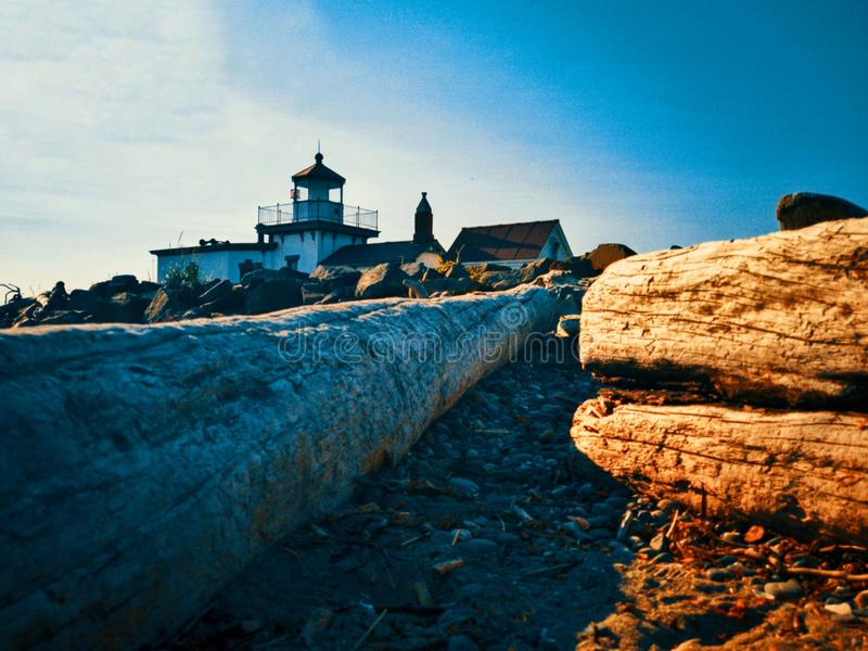 Log by a lighthouse royalty free stock images