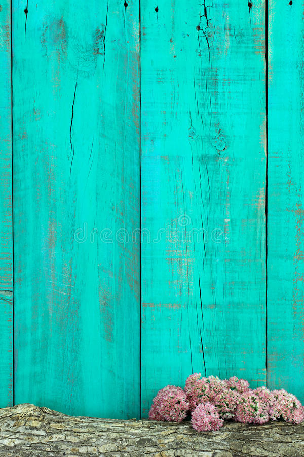 Log And Pink Flowers Border Antique Teal Blue Wooden Fence