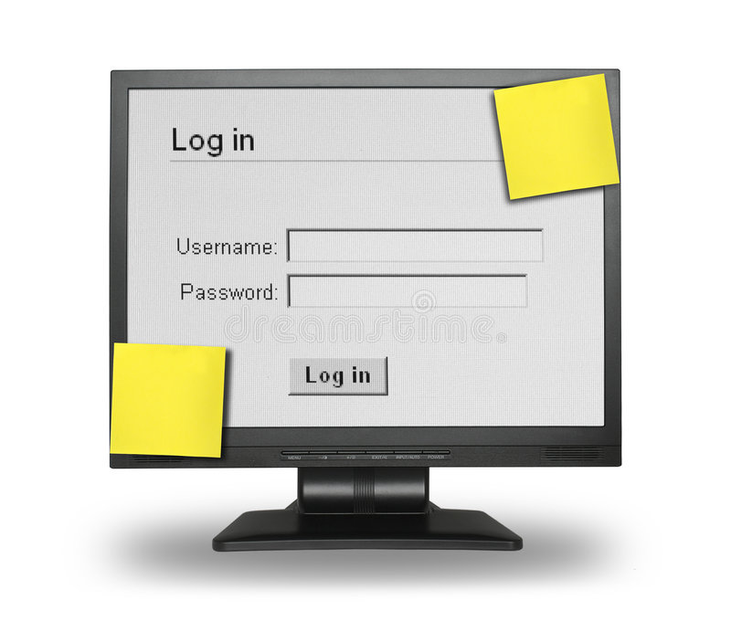 Log in screen stock images