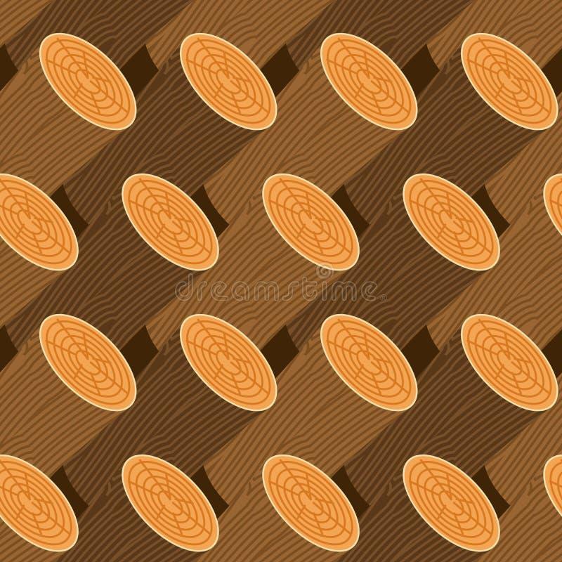 Log seamless pattern. Wooden billet background. Woodpile Ornament.  royalty free illustration