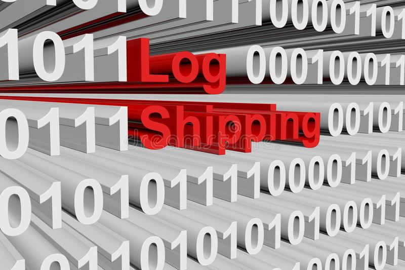 Log shipping. As a binary code 3D illustration royalty free illustration