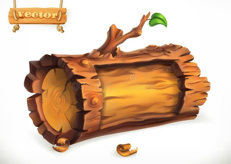 Log, sinal de madeira Engrena o ícone ilustração stock
