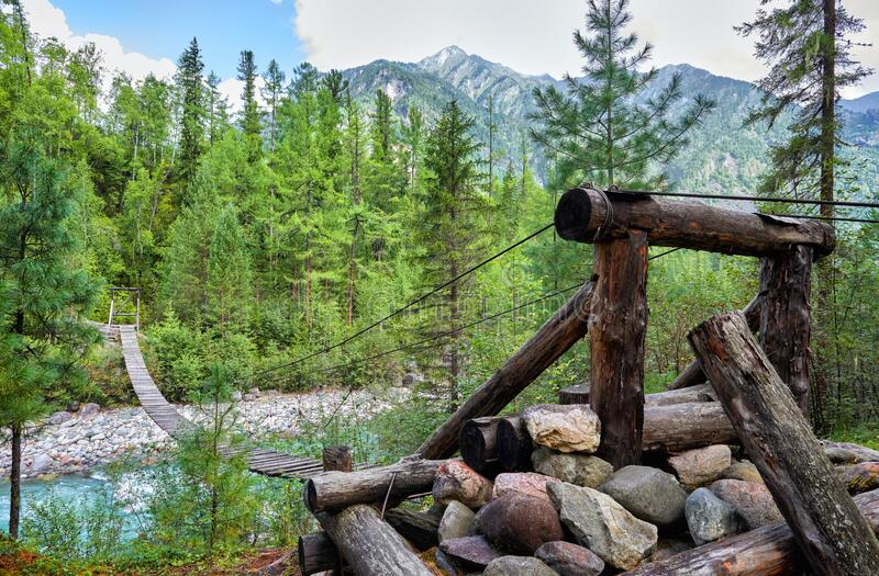 Log support of suspension bridge in forest. The design is made of improvised material and steel cables delivered by helicopter to an inaccessible area. Eastern royalty free stock photography