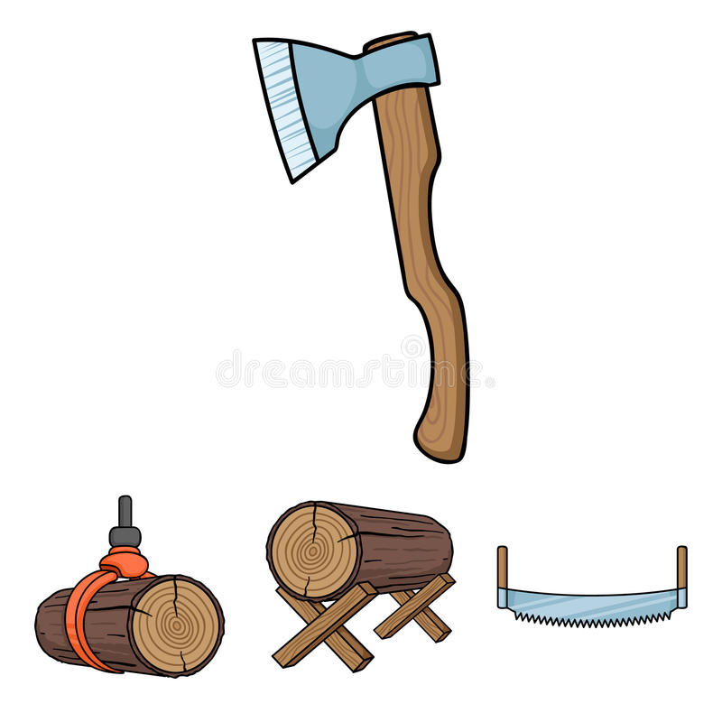 Sawmill and timber set collection icons in cartoon style vector symbol. Log on supports, two-hand saw, ax, raising logs. Sawmill and timber set collection icons stock illustration