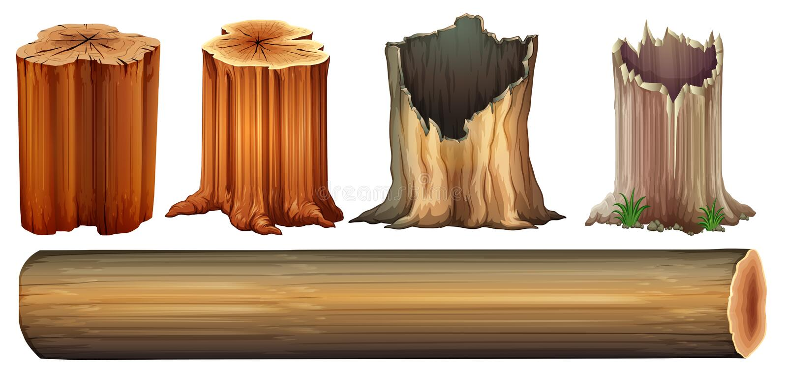 A log and tree stumps vector illustration