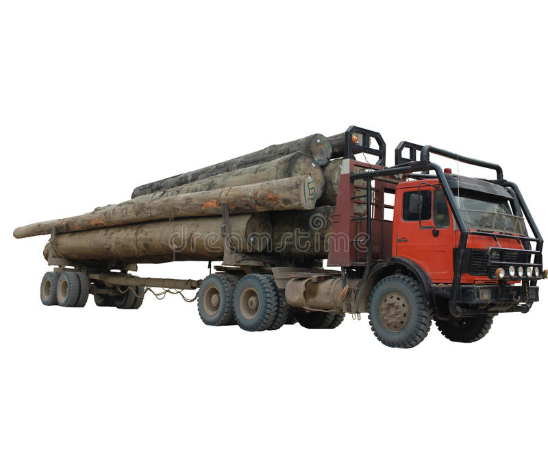 Log truck stock photo