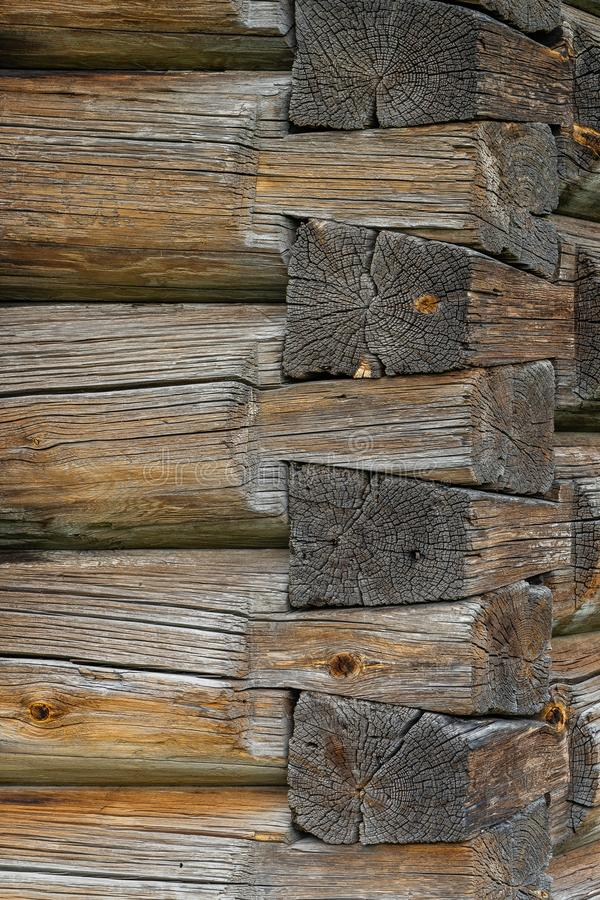 Log wall hut corner junction old russian style royalty free stock photo