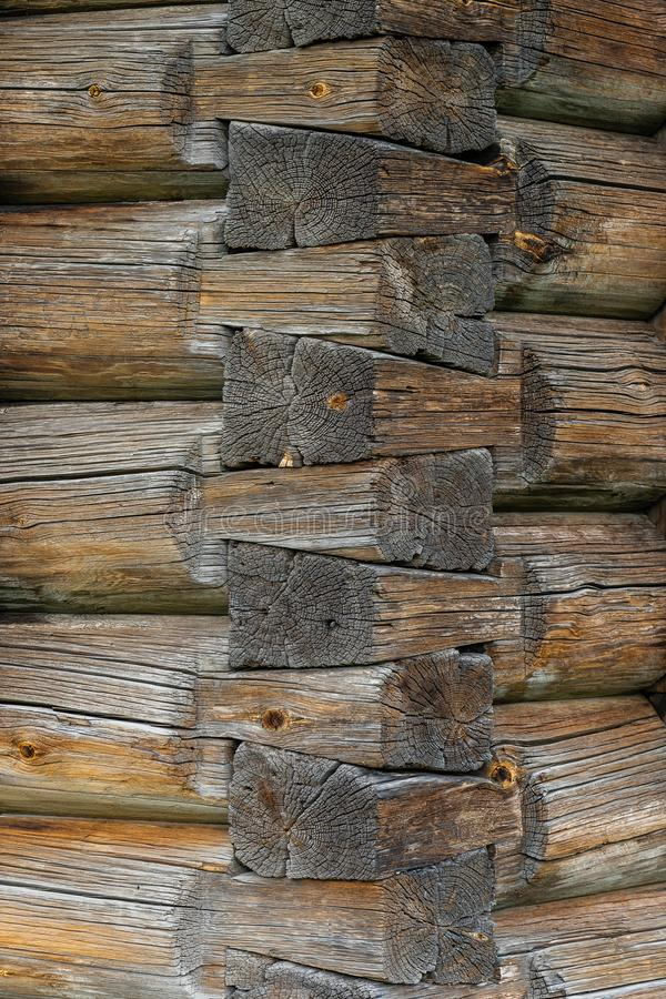 Log wall hut corner junction old russian style royalty free stock image