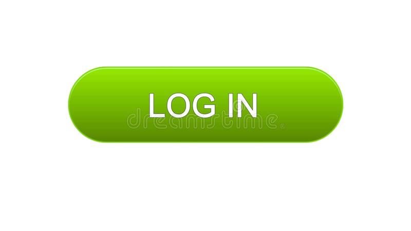Log in web interface button green color, online application service, site design. Stock footage royalty free illustration