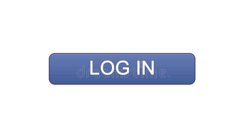 Log in web interface button violet color, online application service, site. Stock footage stock illustration