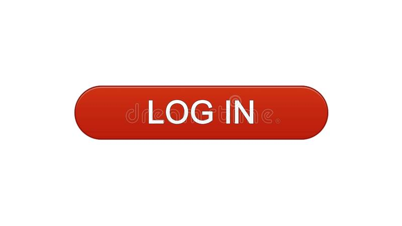 Log in web interface button wine red, online application service, site design. Stock footage stock illustration