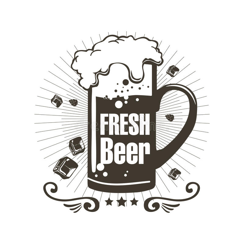 Loga świeży piwo z pianą i kawałki lód ilustracji