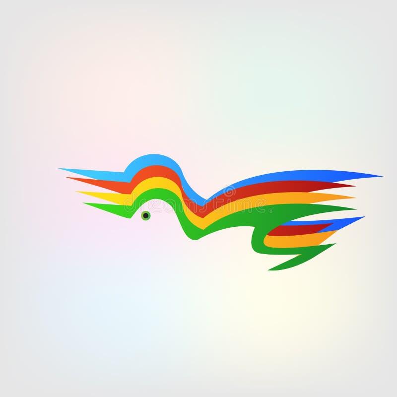 Loga abstrakcjonistycznego kolorowego ptasiego tła wektorowy projekt royalty ilustracja