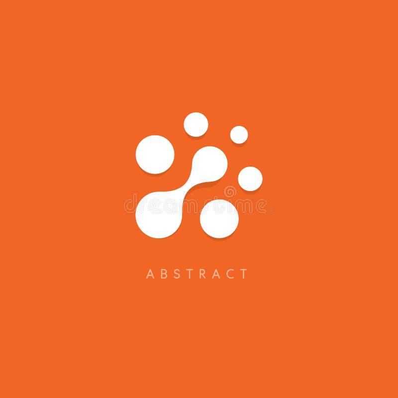 loga abstrakcjonistyczny wektor Biel kropki na pomarańczowym tle Niezwykły okręgu logotypu szablon Chip Komputerowy ikona ilustracji