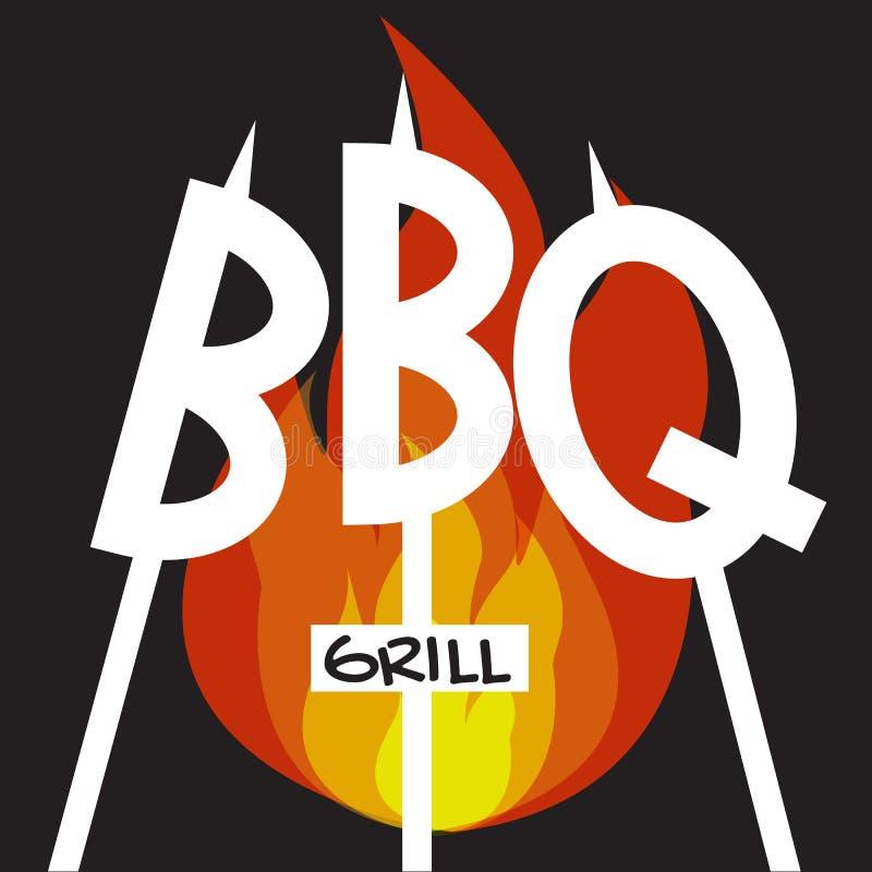 Loga BBQ grill na białego tła wektorowej grafice ilustracja wektor
